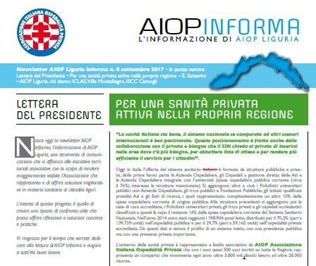 La nuova newsletter di Aiop Liguria